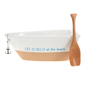 "At the Beach by We People - 7"" Boat Serving Dish with Oar"