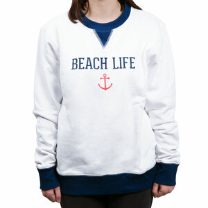 Beach Life by We People - S White Unisex Crewneck Sweatshirt