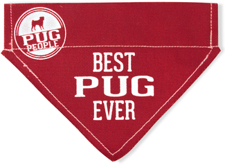 "Best Pug by We Pets - 7"" x 5"" Canvas Slip on Pet Bandana"