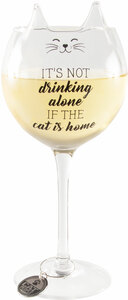 Drinking Alone by We Pets - 14 oz Cat Wine Glass