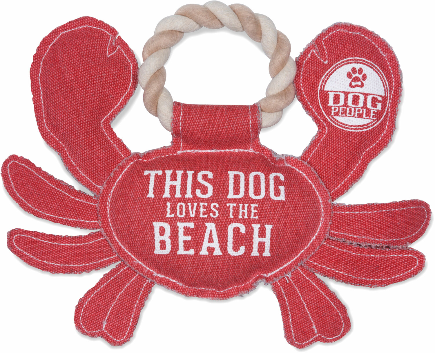 "Beach Dog by We Pets - Beach Dog - 10.75"" x 8"" Canvas Dog Toy on Rope"