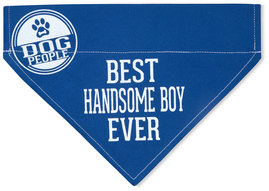 "Handsome Boy by We Pets - 7"" x 5"" Canvas Slip on Pet Bandana"
