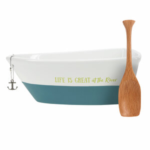 "At the River by We People - 7"" Boat Serving Dish with Oar"