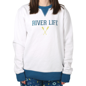 River Life by We People - S White Unisex Crewneck Sweatshirt