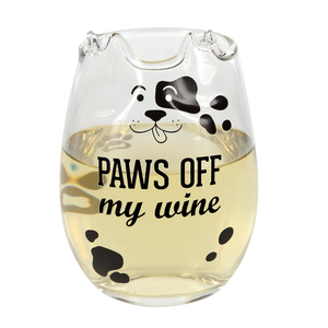 Paws Off by We Pets - 18 oz Dog Stemless Wine Glass