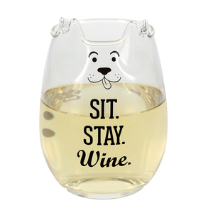 Sit by We Pets - 18 oz Dog Stemless Wine Glass