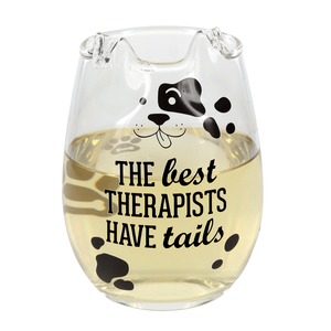 Best Therapists by We Pets - 18 oz Dog Stemless Wine Glass