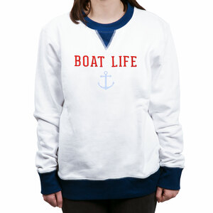 Boat Life by We People - S White Unisex Crewneck Sweatshirt