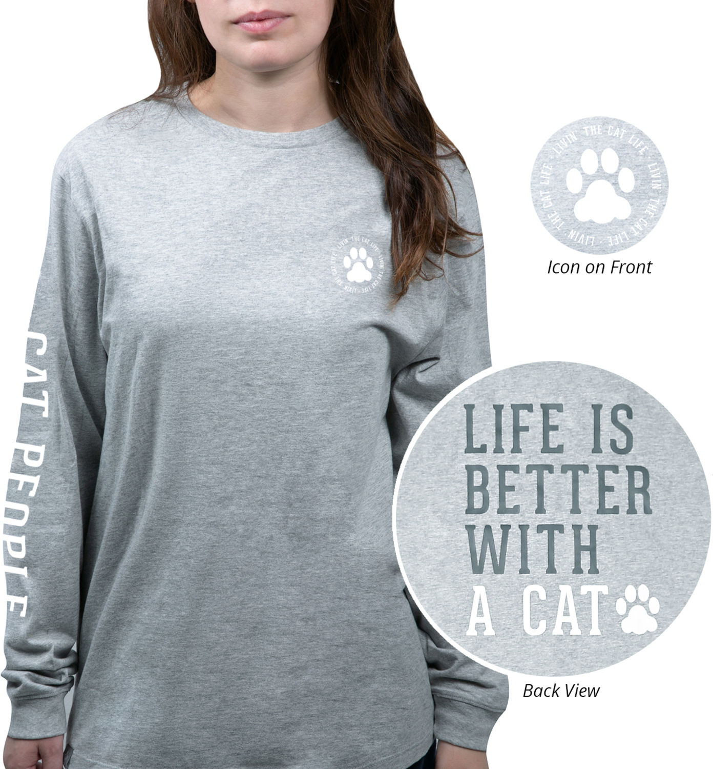 Cat People by We People - Cat People - Small Heather Gray Unisex Long Sleeve T-Shirt