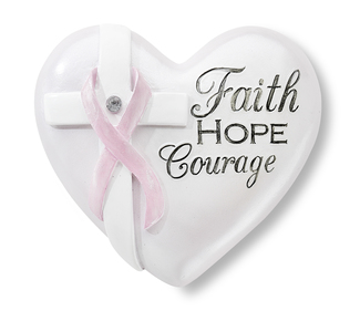 "Courage by Heart Expressions - 2.5"" Inspirational Heart with Pink Ribbon and Clear Crystal to symbolize Breast Cancer Awareness"