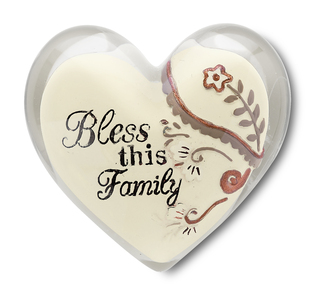 "Bless this Family by Heart Expressions - 1.5"" Heart Token"