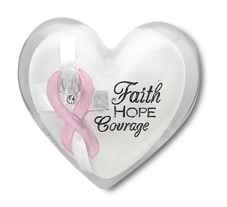 "Courage by Heart Expressions - 1.5"" Heart Token With Clear Crystal and Pink Ribbon to symbolize Breast Cancer Awareness"