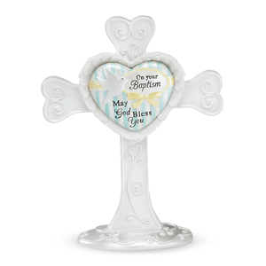 "Baptism by Heart Expressions - 4"" Self Standing Cross"
