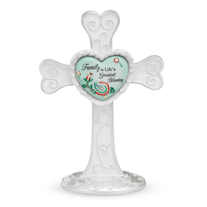 "Family by Heart Expressions - 7"" Self Standing Cross"