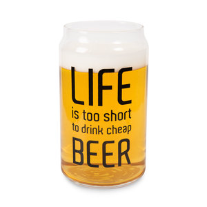Life is Too Short by Man Crafted - 16oz. Beer Can Glass Tea Light Holder