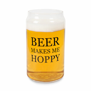 Beer Makes Me Hoppy by Man Crafted - 16oz. Beer Can Glass Tea Light Holder