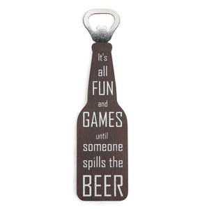 "Fun and Games by Man Crafted - 7"" Bottle Opener Magnet"