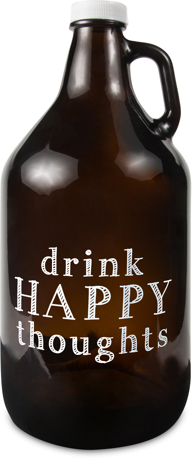 Drink Happy by Man Crafted - Drink Happy - 64 oz Glass Growler