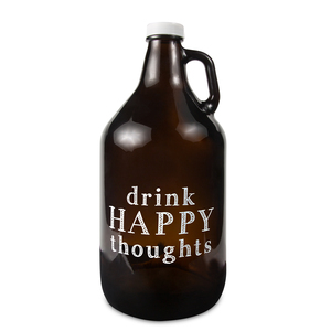 Drink Happy by Man Crafted - 64 oz Glass Growler