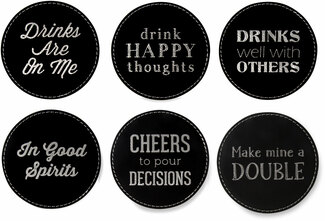 "Happy Hour by Man Crafted - 4"" (6 Piece) Coaster Set"