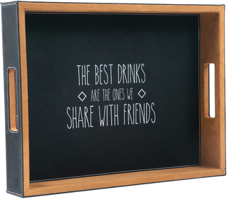 "Best Drinks by Man Crafted - 16"" x 12"" PU Leather Tray"