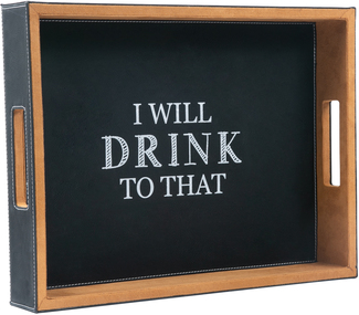 "Drink to That by Man Crafted - 16"" x 12"" PU Leather Tray"