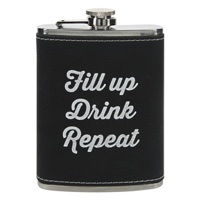 Fill Up by Man Crafted - PU Leather & Stainless Steel 8 oz Flask