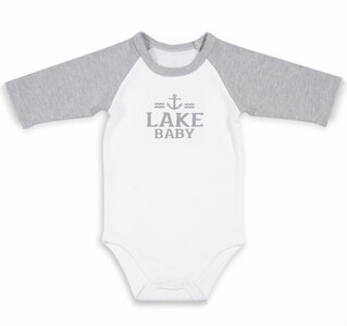 Lake by We Baby - 6-12 Months 3/4 Length Heather Gray Sleeve Onesie