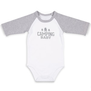 Camping by We Baby - 6-12 Months 3/4 Length Heather Gray Sleeve Onesie