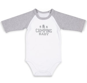 Camping by We Baby - 12-24 Months 3/4 Length Heather Gray Sleeve Onesie