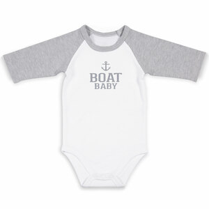 Boat by We Baby - 6-12 Months 3/4 Length Heather Gray Sleeve Onesie