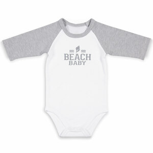 Beach by We Baby - 6-12 Months 3/4 Length Heather Gray Sleeve Onesie