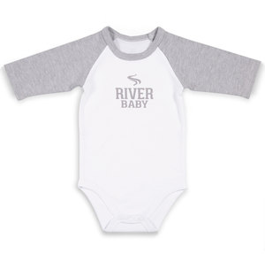 River Baby by We Baby - 12-24 Months 3/4 Length Heather Gray Sleeve Onesie