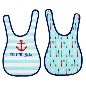 Anchors and Oars by We Baby - Reversible Bib (6M - 3 Years)