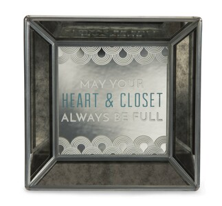 "Heart & Closet by Pretty Inappropriate - 5"" Mirrored Easel Back Plaque"