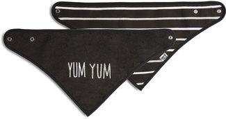 Black Yum Yum by Sidewalk Talk - Reversible Handkerchief bib