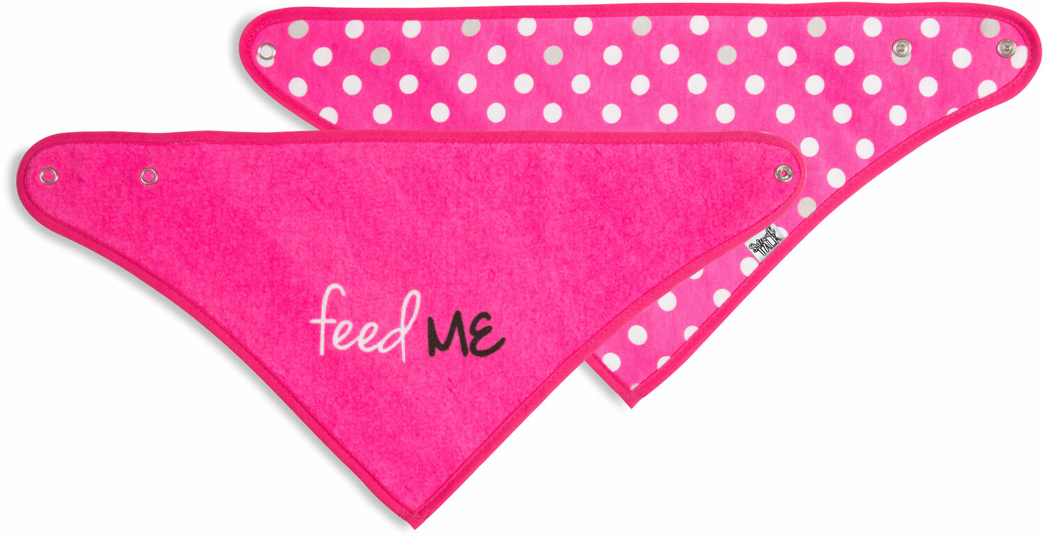 Pink Feed Me by Sidewalk Talk - Pink Feed Me - Reversible Handkerchief bib