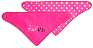Pink Feed Me by Sidewalk Talk - Reversible Handkerchief bib