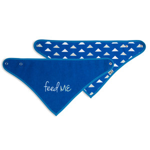 Navy Feed Me by Sidewalk Talk - Reversible Handkerchief bib