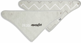 Gray Drool Monster by Sidewalk Talk - Reversible Handkerchief bib