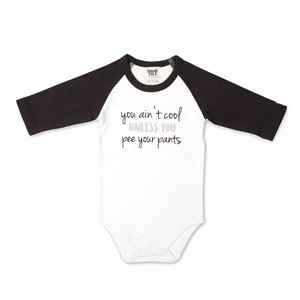 Ain't Cool by Sidewalk Talk - 6-12 Months 3/4 Length Black Sleeve Onesie