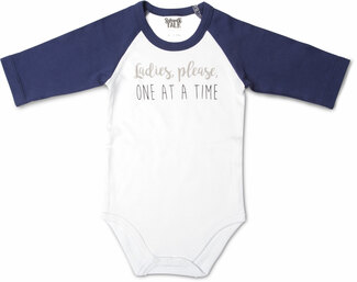 One At A Time by Sidewalk Talk - 12-24 Months 3/4 Length Navy Sleeve Onesie
