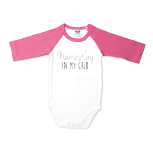 Namast'ay by Sidewalk Talk - 6-12 Months 3/4 Length Pink Sleeve Onesie