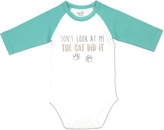 Cat Did It by Sidewalk Talk - 6-12 Months 3/4 Length Teal Sleeve Onesie