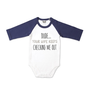 Dude by Sidewalk Talk - 6-12 Months 3/4 Length Navy Sleeve Onesie