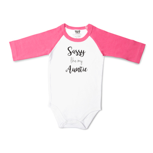 Auntie by Sidewalk Talk - 6-12 Months 3/4 Length Pink Sleeve Onesie