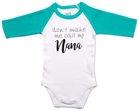 Nana by Sidewalk Talk - 6-12 Months 3/4 Length Teal Sleeve Onesie