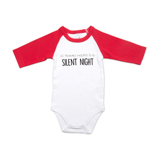 Silent Night by Sidewalk Talk - 6-12 Months 3/4 Length Red Sleeve Onesie