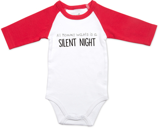 Silent Night by Sidewalk Talk - 12-24 Months 3/4 Length Red Sleeve Onesie