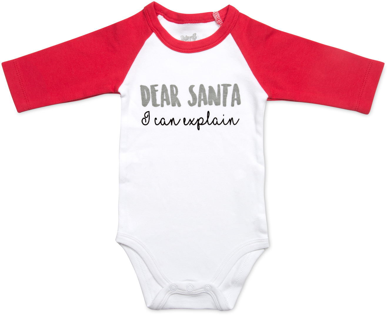 Dear Santa by Sidewalk Talk - Dear Santa - 6-12 Months 3/4 Length Red Sleeve Onesie